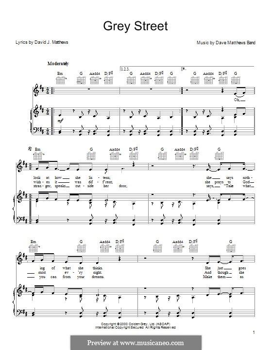 Grey Street (Dave Matthews Band): Para vocais e piano (ou Guitarra) by David J. Matthews