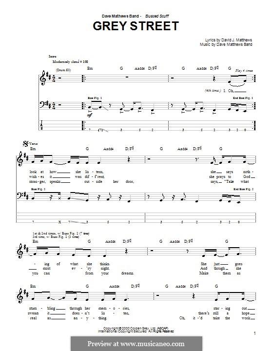 Grey Street (Dave Matthews Band): para baixo com guia by David J. Matthews