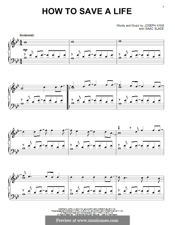 How to Save a Life (The Fray): Para Piano by Isaac Slade, Joseph King