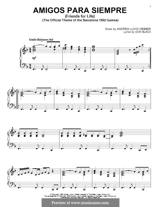 Amigos Para Siempre (Friends for Life): Para Piano by Andrew Lloyd Webber
