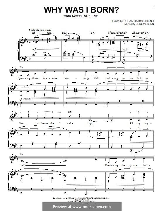 Why Was I Born?: Para vocais e piano (ou Guitarra) by Jerome Kern