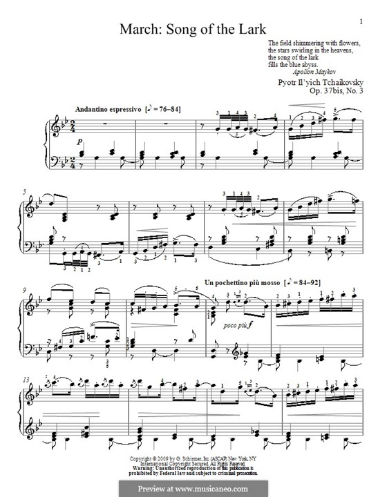 No.3 March (Song of the Lark): Para Piano by Pyotr Tchaikovsky