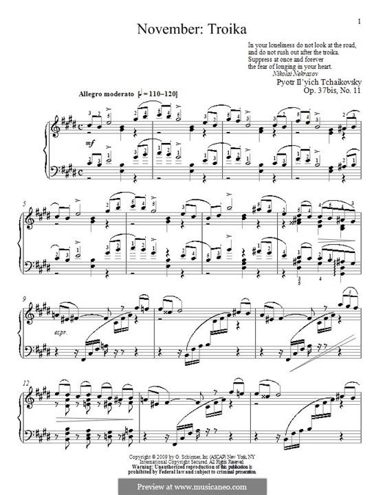 No.11 November (On the Troika): para piano (com dedilhado) by Pyotr Tchaikovsky