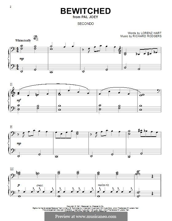 Bewitched (The Betty Smith Group): para piano de quadro mãos by Richard Rodgers