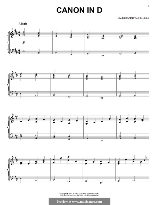 Canon in D Major (Printable): Para Piano by Johann Pachelbel