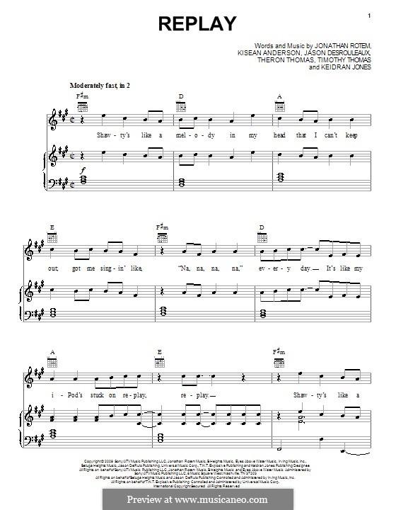 Replay (Iyaz): Para vocais e piano (ou Guitarra) by Jason Desrouleaux, Jonathan Rotem, Keidran Jones, Kisean Anderson, Theron Thomas, Timothy Thomas