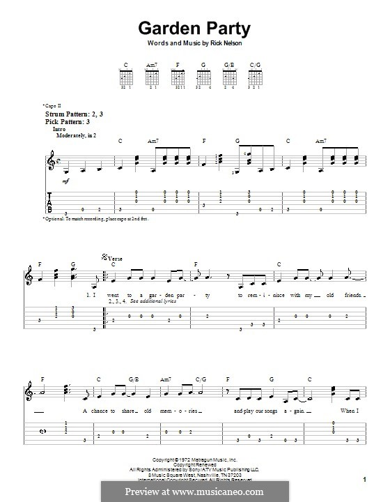 Garden Party: Para guitarra (versão facil) by Rick Nelson