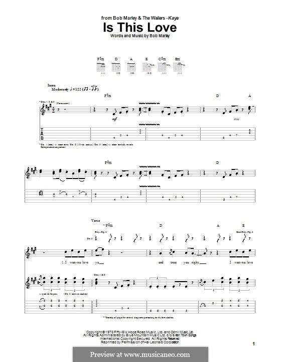 Is This Love: Para guitarra com guia by Bob Marley