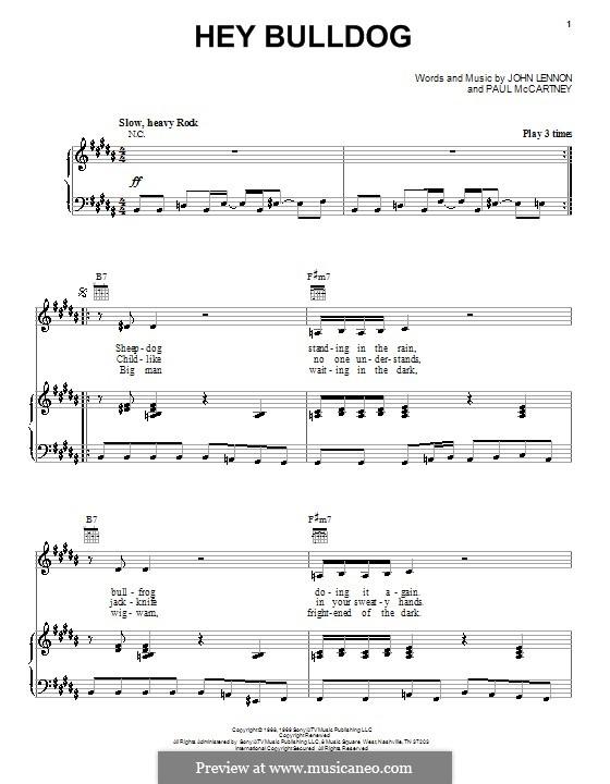 Hey Bulldog (The Beatles): para vocais,piano ou guitarra by John Lennon, Paul McCartney
