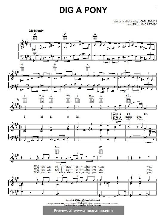 Dig a Pony (The Beatles): Para vocais e piano (ou Guitarra) by John Lennon, Paul McCartney