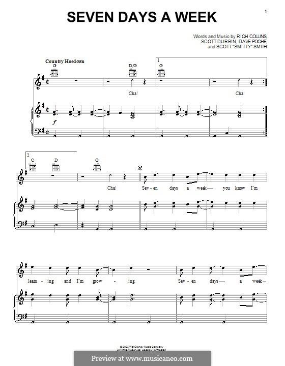 Seven Days a Week (Imagination Movers): Para vocais e piano (ou Guitarra) by Dave Poche, Rich Collins, Scott Durbin, Scott Smith