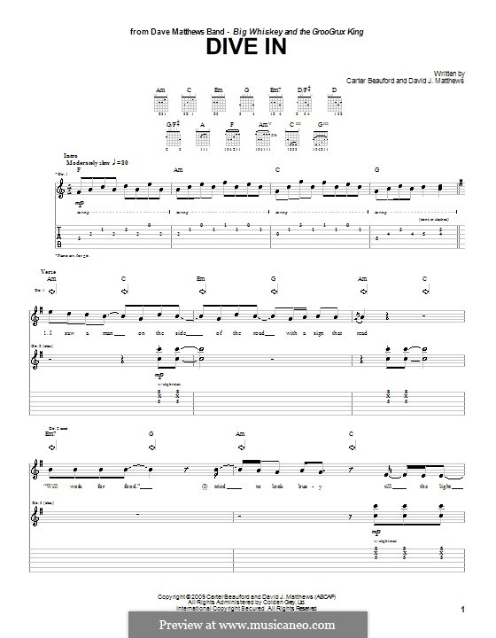 Dive in (Dave Matthews Band): Para guitarra com guia by Carter Beauford, David J. Matthews