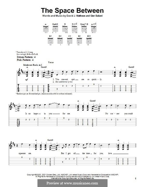 The Space Between (Dave Matthews Band): Para guitarra (versão facil) by David J. Matthews, Glen Ballard