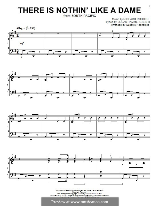 There is Nothin' Like a Dame (from South Pacific): Para Piano by Richard Rodgers