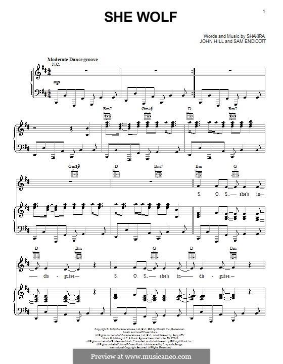 She Wolf: Para vocais e piano (ou Guitarra) by John Leubrie Hill, Shakira, Jorge Drexler, Samuel Endicott
