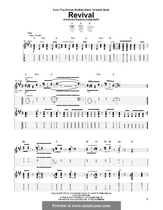 Revival (The Allman Brothers Band): Para guitarra com guia by Dickey Betts