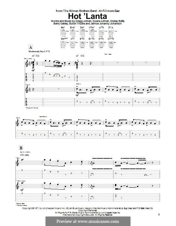 Hot 'Lanta (The Allman Brothers Band): Para guitarra com guia by Berry Oakley, Butch Trucks, Dickey Betts, Gregg Allman, Jaimoe Johanny Johanson