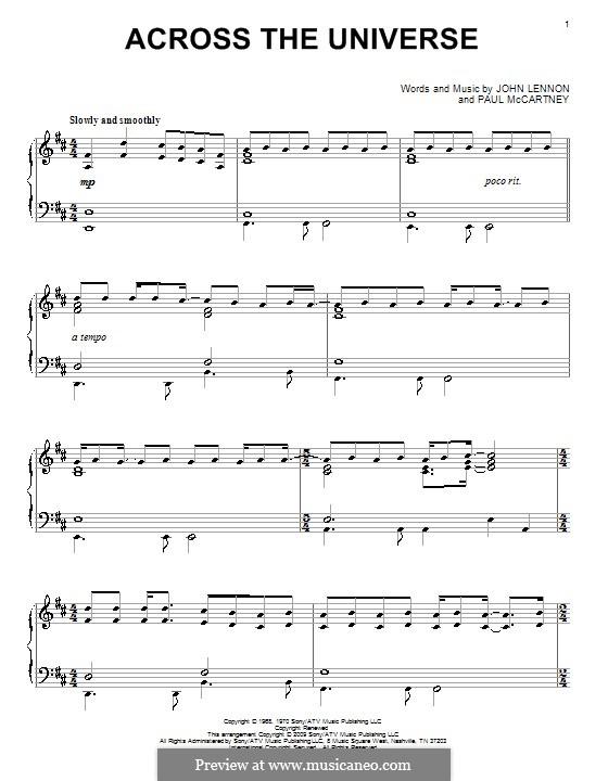 Across the Universe (The Beatles): Para Piano by John Lennon, Paul McCartney