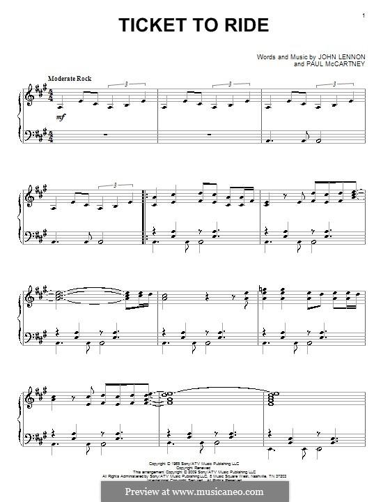Ticket to Ride (The Beatles): Para Piano by John Lennon, Paul McCartney