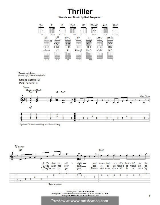 Thriller (Michael Jackson): facil para guitarra (com guia) by Rod Temperton