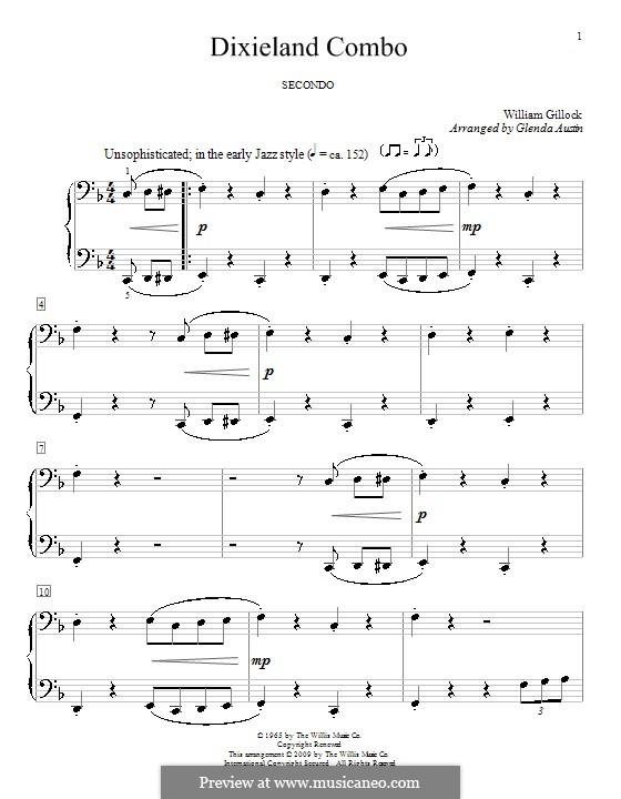 Dixieland Combo: para piano de quadro mãos by Glenda Austin