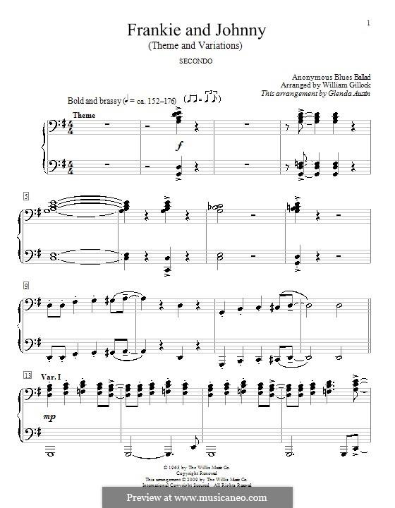 Frankie And Johnny: para piano de quadro mãos by Glenda Austin