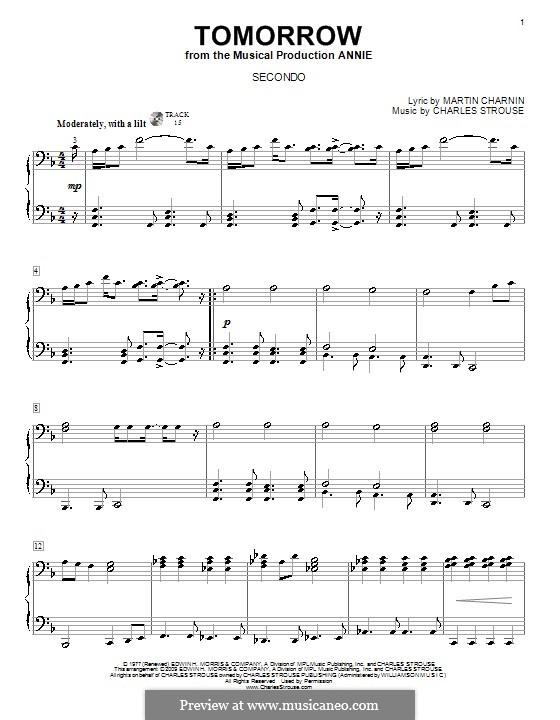 Tomorrow (from Annie): para piano de quadro mãos by Charles Strouse