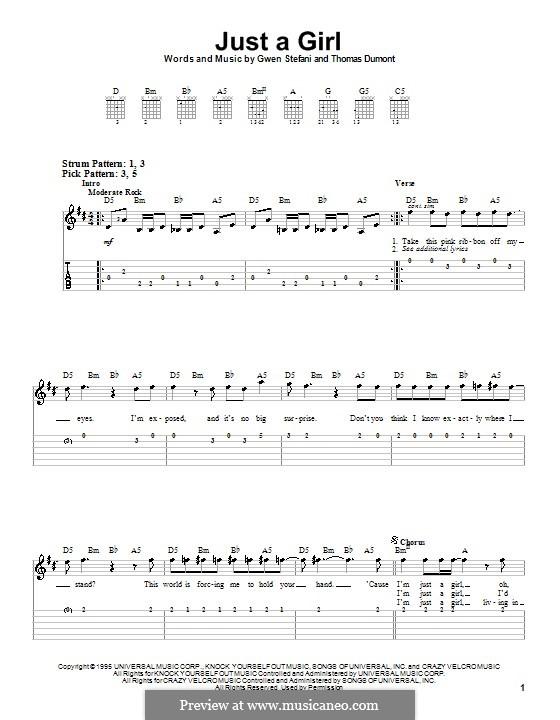 Just a Girl (No Doubt): Para guitarra (versão facil) by Gwen Stefani, Thomas Dumont