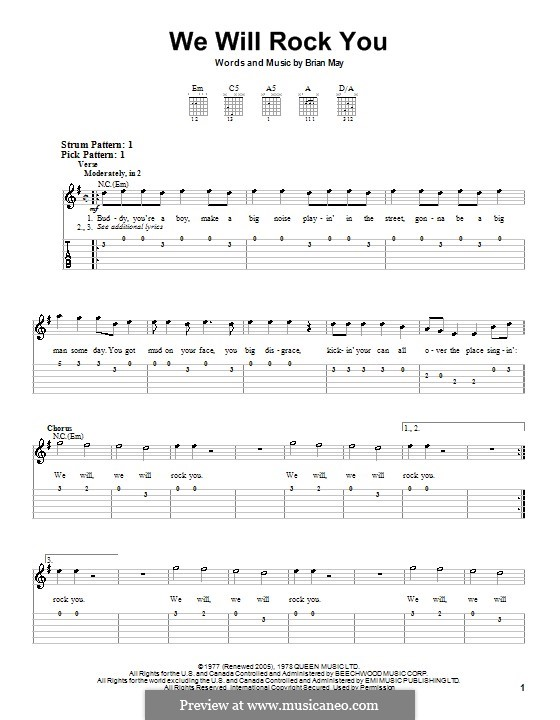 We Will Rock You (Queen): Para guitarra (versão facil) by Brian May