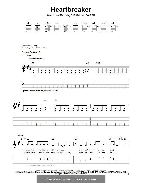 Heartbreaker (Pat Benatar): Para guitarra (versão facil) by Cliff Wade, Geoff Gill