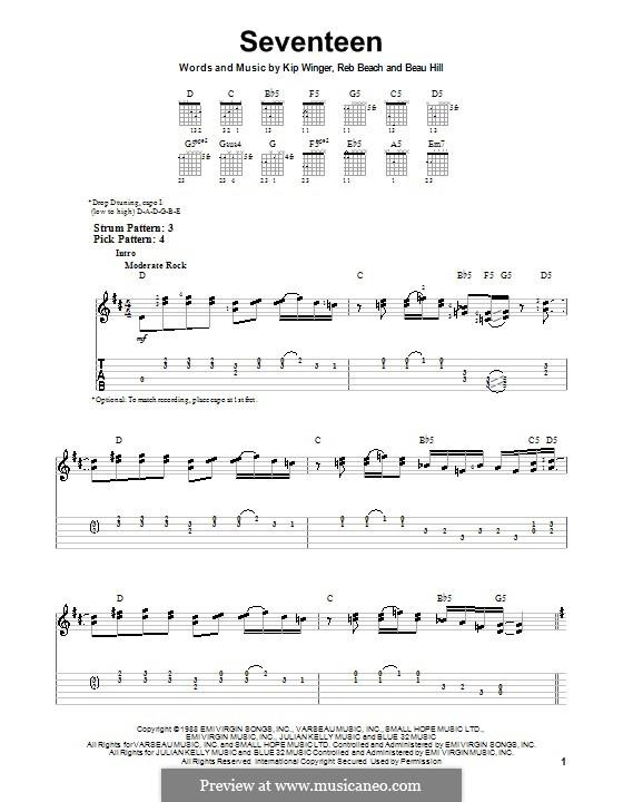 Seventeen (Winger): Para guitarra (versão facil) by Beau Hill, Kip Winger, Reb Beach