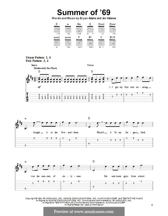 Summer of '69: Para guitarra (versão facil) by Bryan Adams, Jim Vallance