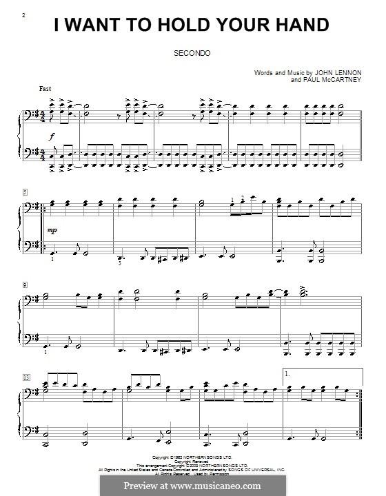 I Want to Hold Your Hand (The Beatles): para piano de quadro mãos by John Lennon, Paul McCartney