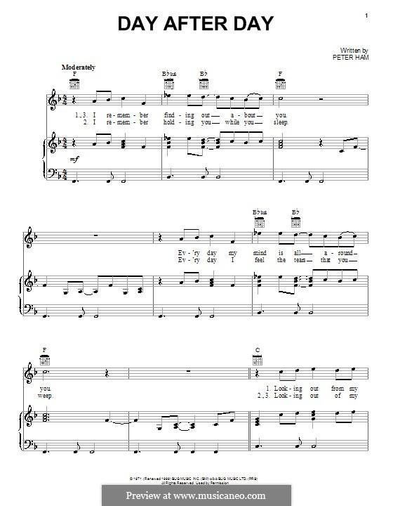Day After Day (Badfinger): Para vocais e piano (ou Guitarra) by Peter Ham