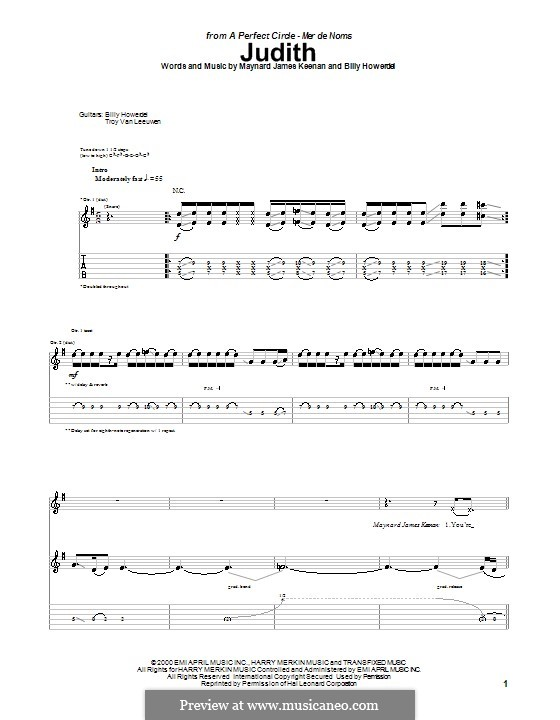 Judith (A Perfect Circle): Para guitarra com guia by Billy Howerdel, Maynard James Keenan