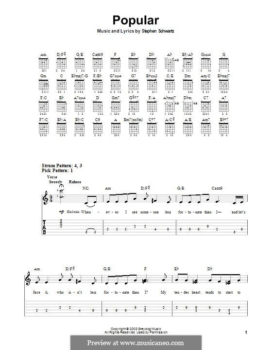 Popular (from Wicked): Para guitarra (versão facil) by Stephen Schwartz
