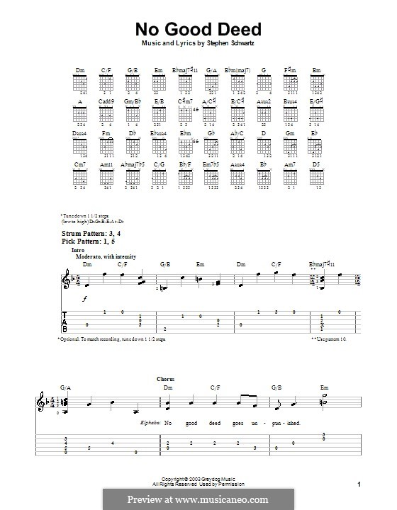 No Good Deed (from Wicked): Para guitarra (versão facil) by Stephen Schwartz