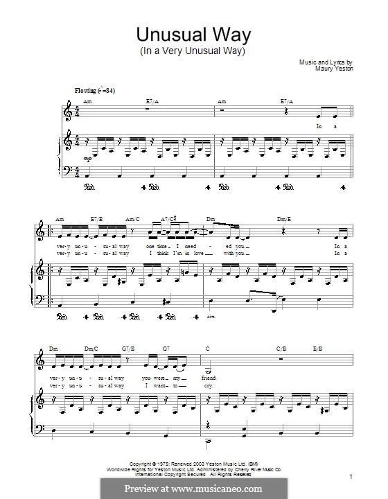 Unusual Way (In a Very Unusual Way): Para vocais e piano (ou Guitarra) by Maury Yeston