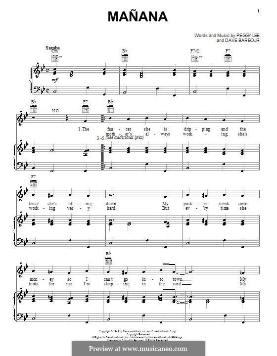 Manana (Is Good Enough for Me): Para vocais e piano (ou Guitarra) by Dave Barbour