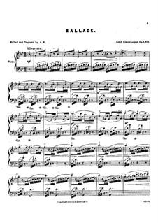 Three Character Pieces. No.1 Ballade, Op.7: Three Character Pieces. No.1 Ballade by Josef Gabriel Rheinberger