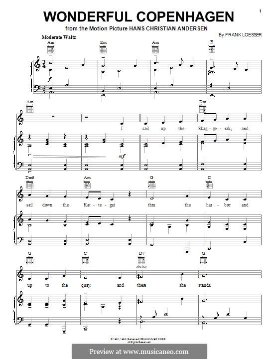 Wonderful Copenhagen: Para vocais e piano (ou Guitarra) by Frank Loesser