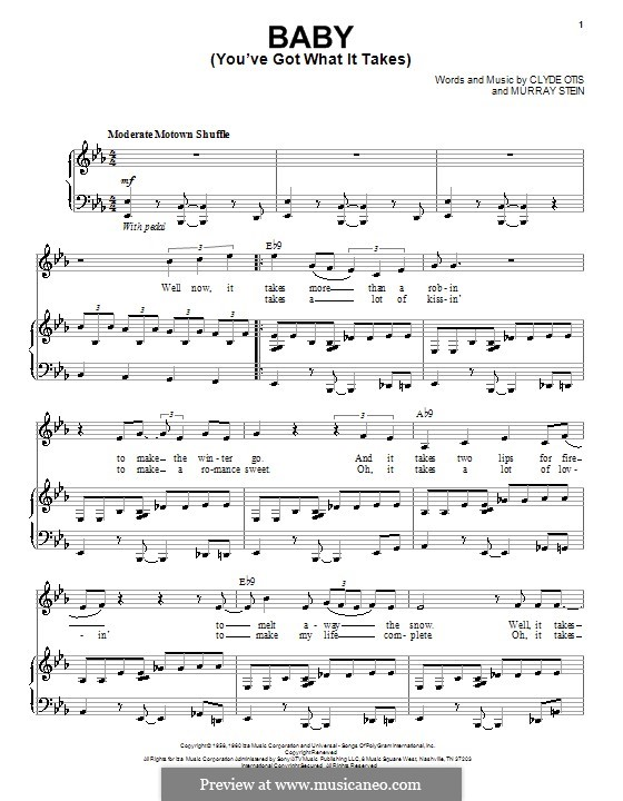 Baby (You've Got What It Takes): Para vocais e piano (ou Guitarra) by Clyde Otis, Murray Stein