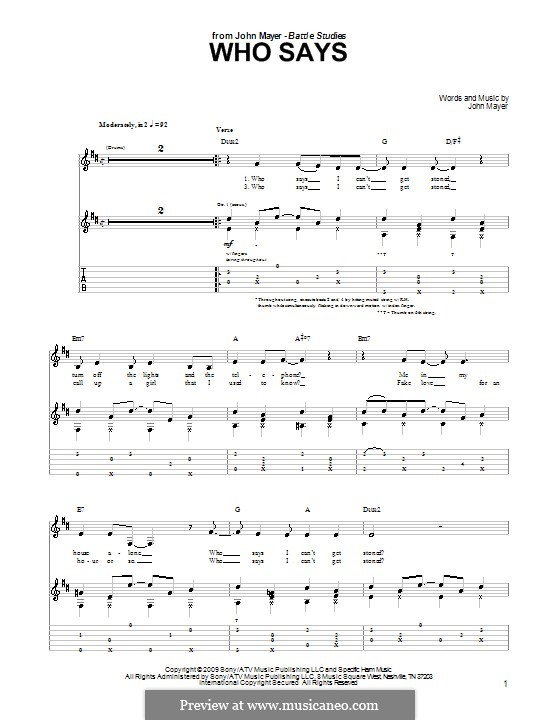 Who Says: Para guitarra com guia by John Mayer
