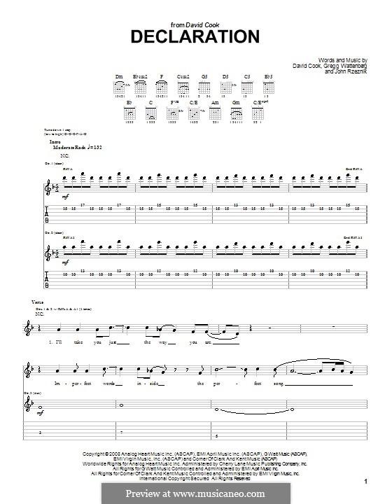 Declaration: Para guitarra com guia by Gregg Wattenberg, John Rzeznik