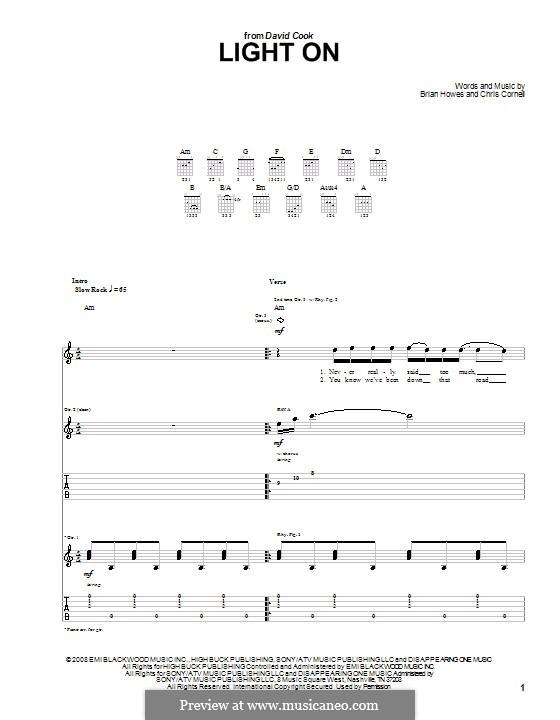 Light on (David Cook): Para guitarra com guia by Brian Howes, Chris Cornell