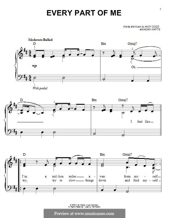 Every Part of Me (Hannah Montana): Facil para o piano by Adam Watts, Andrew Dodd