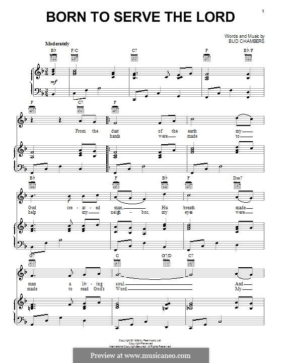 Born to Serve the Lord: Para vocais e piano (ou Guitarra) by Bud Chambers