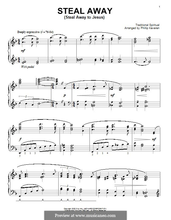 Steal Away (Steal Away To Jesus): Para Piano by folklore