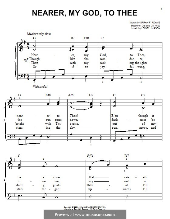 Nearer, My God, To Thee (Printable scores): Para Piano by Lowell Mason