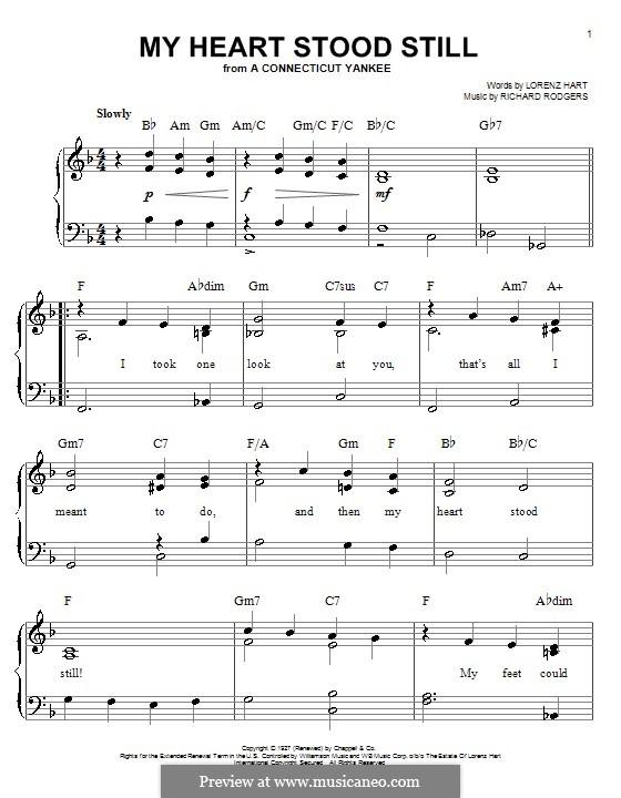 My Heart Stood Still: Facil para o piano by Richard Rodgers